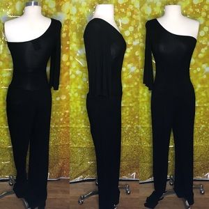 Off the should all black jump suit with pockets